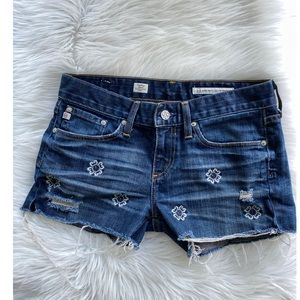 Anthropologie AG Tomboy Cut Off Shorts Embroidered